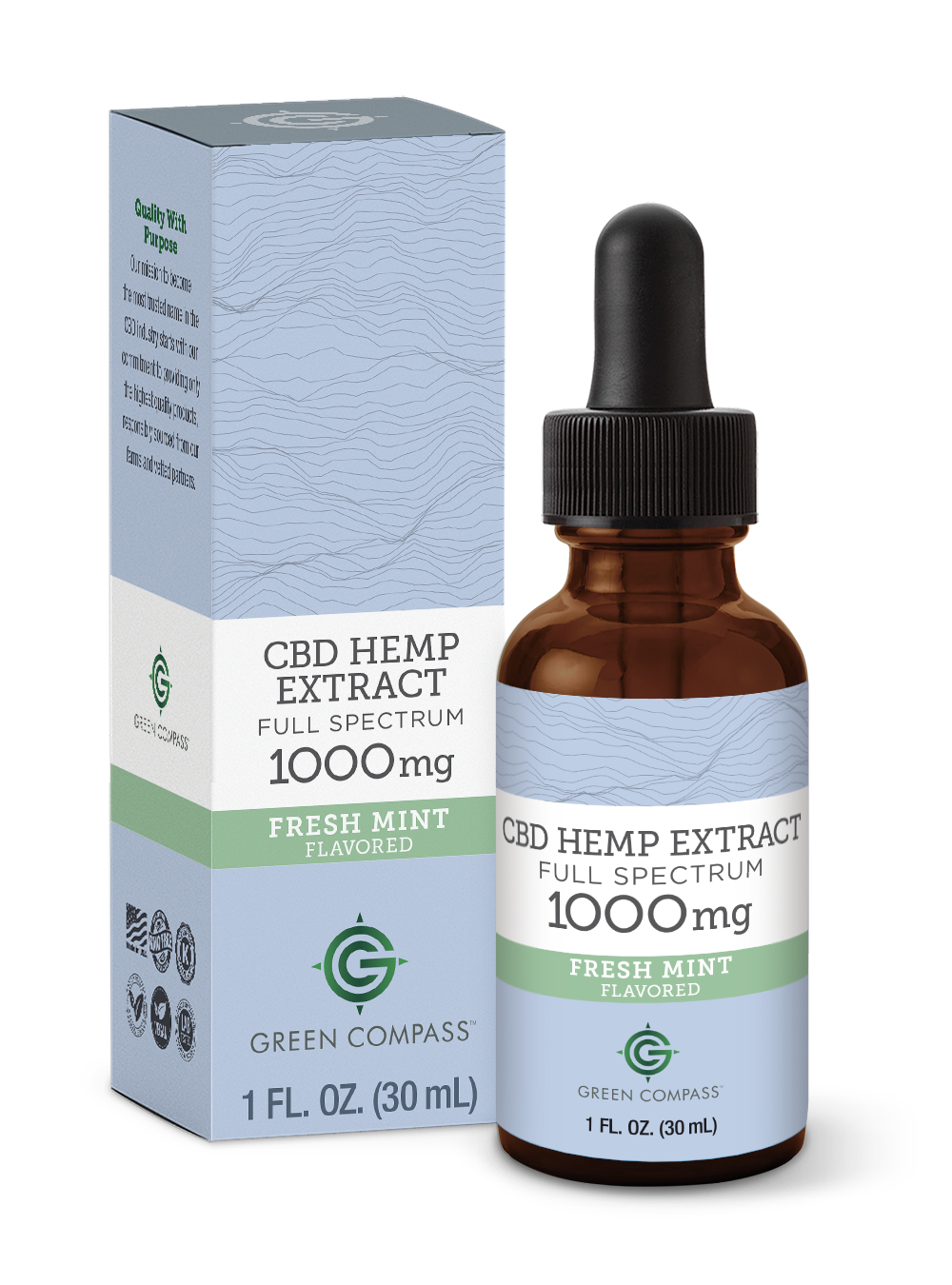 Green Compass Full Spectrum-Mint 1000mg Tincture Bottle and Box